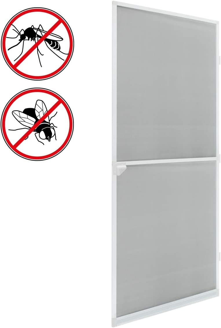 ECD Germany Mosquitera con Marco de Aluminio - 100x220 cm - Blanca- atrapamoscas Impermeable de Fibra de Vidrio para Puerta - Anti Mosquitos Insectos - Aluminio Material Resistente a los Rayos UV
