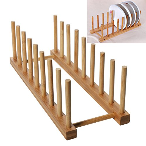 - Bamboo Dish Drying Holder Rack, Vertical Plate Dishes Drainboard Drying Drainer Storage Holder Stand Kitchen Cabinet Organizer for Dish Plate Bowl Cup Pot Lid Dish Rack(Large/8)