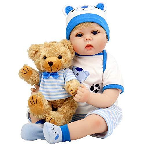 Aori Lifelike Reborn Baby Boy Doll 22 Inch Handmade Weighted Reborn Baby Doll with Bear Toy