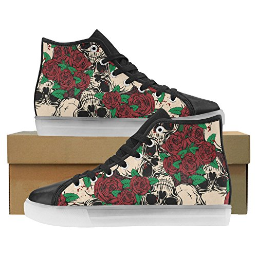 InterestPrint Skulls And Bones Light Up Womens Shoes Flashing Sneakers Skulls and Roses odA6SBVqo1
