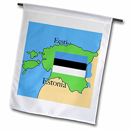 Estonian Garden - 3dRose fl_37584_1 The Map and Flag of Estonia with Estonia Printed in English and Estonian Garden Flag, 12 by 18-Inch