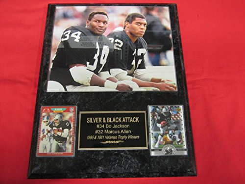 Bo Jackson Marcus Allen Los Angeles Raiders 2 Card Collector Plaque #1 w/8x10 Photo