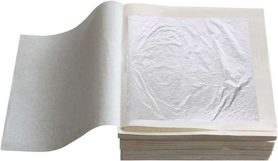 YongBo Pure Silver Leaf Foil Sheets, 10 Sheets 2.36
