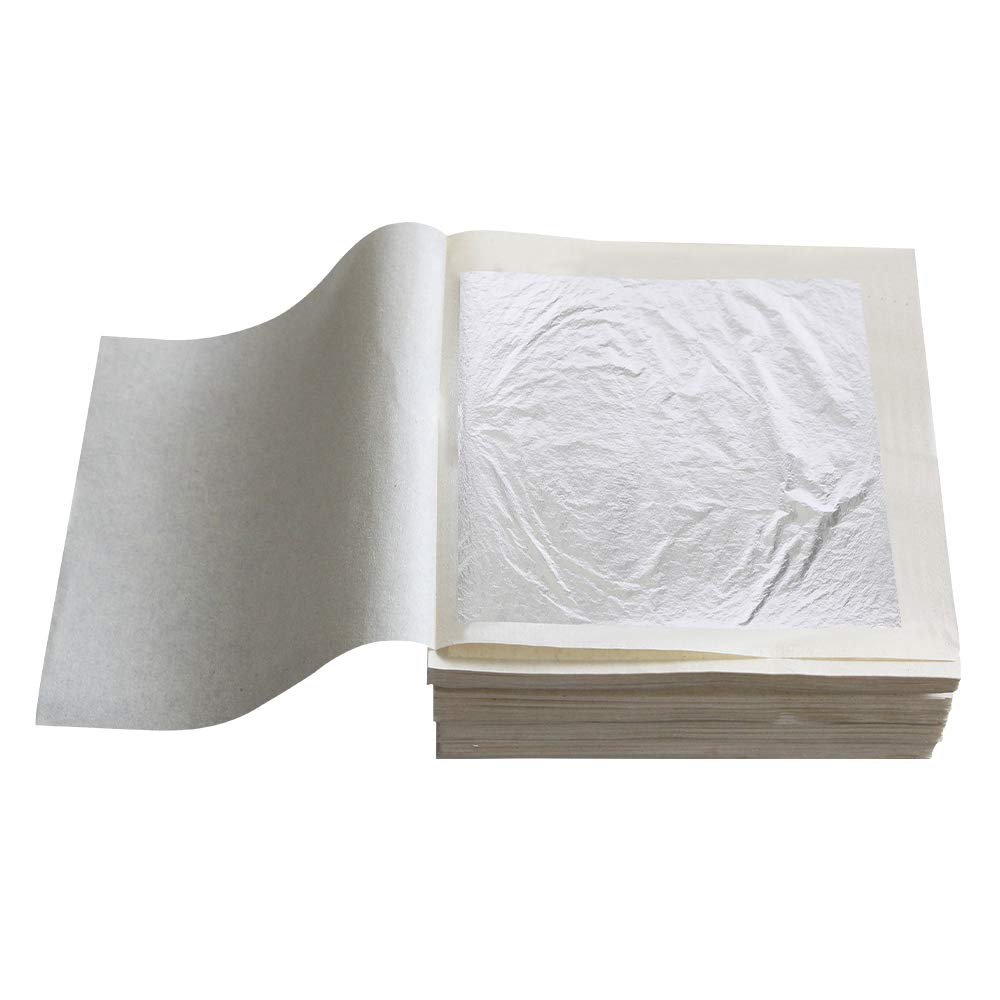"""YongBo Pure Silver Leaf Foil Sheets, 10 Sheets 2.36"""" by 2.36"""" Edible Pure Silver Sheets for Cake Decoration, Makeup, Coffee,Chocolates and Gilding Arts Craft"""
