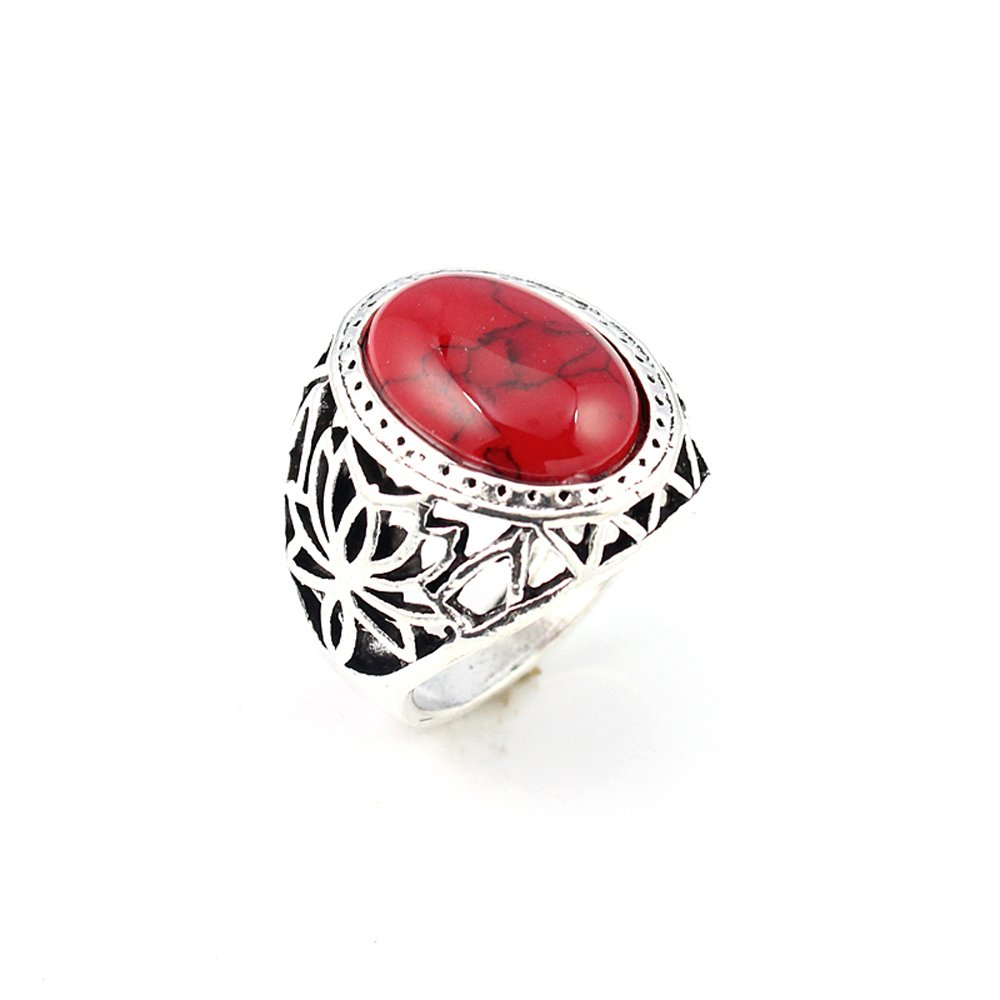 silverjewelgems RED COPPER TURQUOISE FASHION JEWELRY .925 SILVER PLATED RING 10.5 S23016