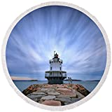 Pixels Round Beach Towel With Tassels featuring ''Spring Point Ledge Light Station'' by Rick Berk