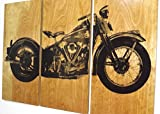 Harley Davidson Vintage 1946 Knucklehead Motorcycle / Street Bike / Screen Print Wood Painting Wall Art on Stained Solid Wood 3/4 inch thick