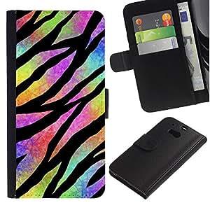 Billetera de Cuero Caso Titular de la tarjeta Carcasa Funda para HTC One M8 / Hippie Psychedelic Universe Colors / STRONG