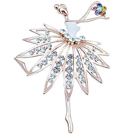Wimagic 1X Broche Fille dansante de Cristal Broche Bijoux Alliage Broche Fleur Broche Femme Pas Cher Broche Bijoux Vintage Mode Breastpin /él/égant Mignon Boutonniere