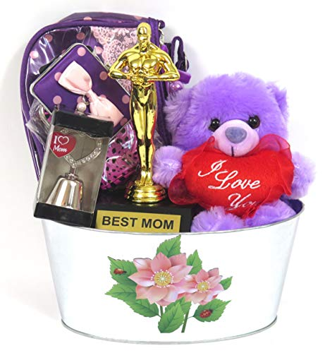 Mother's Day I Love Mom Flower Basket, Includes World's Best mom Trophy, I Love You Plush Teddy, I Love Mom Bell, and a Hand Bag, morrir.