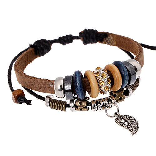 Victoria Echo Handmade Beaded Brown Leather Cuff Wrap Bracelet with Leaf Charm