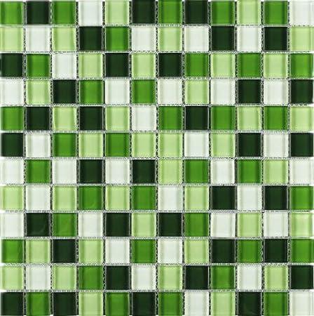 Pool Spa 1 Sheet, Grass Green Square Multi Shade Glass Mosaic Tile for Kitchen Backsplashes Bathroom Walls
