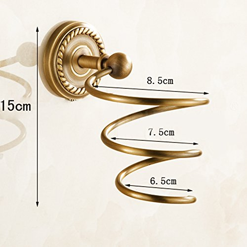 Vejaoo Antique Brass Spiral Practical Wall-mounted Bathroom Hair Dryer Holder by Vejaoo (Image #5)