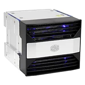 "Cooler Master 4-in-3 Device Module - Disco duro en red (3 x 5.32"", 153 x 184 x 129 mm, ATX, 1 x 120x120x25mm Blue LED fan, 1200 rpm, 22 dBA)"