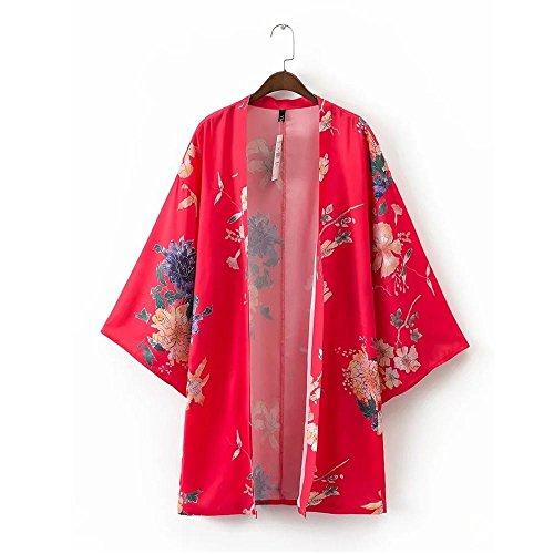 2017 Summer Ladies Clothing Moda Flores Rojas Impreso Kimono Cardigan: Amazon.es: Ropa y accesorios