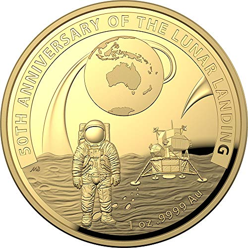 2019 AU Modern Commemorative PowerCoin MOON LANDING 50th Anniversary Dome 1 Oz Gold Coin 100$ Australia 2019 Proof