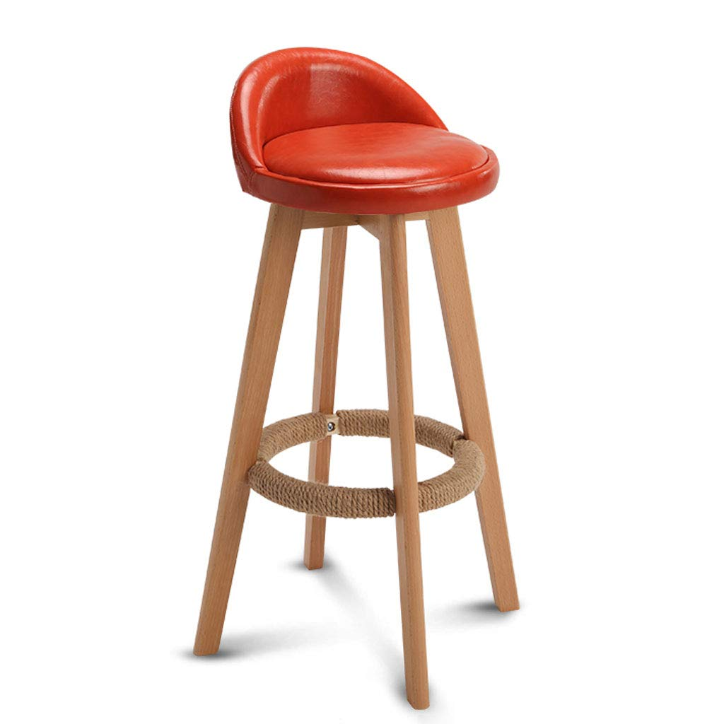 B PU Leather Bar Stool, with Backrest redatable Solid Wood Frame Fabric Dining Chair Breakfast Stool Modern Style Chair, for Kitchen, Restaurant, Cafe, Bar (color Optional) (color   E)