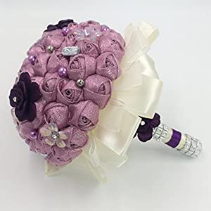 Vintage Retro Wedding Artificial Flower Jeweled Bouquet Purple Glitter Satin Rose Velvet Flowers with Rhinestone Layered Holder 81