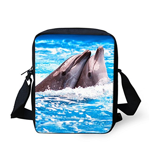 Purse Dolphin - HUGS IDEA Dolphin Print Cute Single Shoulder Cellphone Purse Wallet Travel Bag Kids School Bags