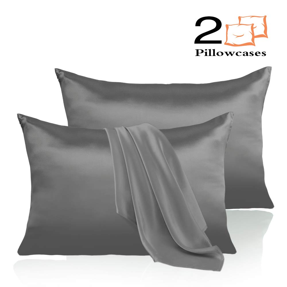 Leccod 2 Pack Silk Satin Pillowcase for Hair and Skin Cool Super Soft and Luxury Pillow Cases Covers with Envelope Closure (Deep Gray, Queen: 20x30)