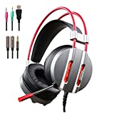 PC Gaming Headset with Mic for New Xbox 1 PS4 Cellphone Laptops Computer - Surround Sound, Noise Reduction, Easy Volume Control Game Earphone - 3.5MM Over-Ear Headphone with USB LED Light(M9-Grey)