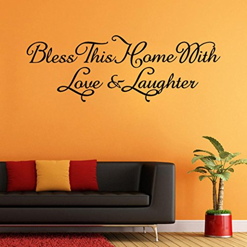 Iuhan DIY Bless This Home with Love & Laughter Art Wall Sticker Decal Mural Room Decor (D)