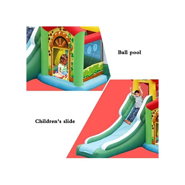 51rVA4e2TjL El castillo inflable para niños tiene una gran capacidad de carga, puede acomodar a 4-6 niños al mismo tiempo para jugar al mismo tiempo e incluso puede acomodar a más niños, para que los niños puedan aumentar la interacción con otros niños, más sanos y felices al crecer. El castillo inflable para niños se puede usar en interiores, sala de estar o dormitorio, y se puede usar en exteriores, jardines, parques, jardines de infantes, parques infantiles, salidas al aire libre y otros lugares, lo que es muy conveniente, mientras que también es muy conveniente para el almacenamiento. gratis. El castillo inflable está hecho de material oxford ecológico de alta calidad. La parte inferior es de diseño grueso y antideslizante, resistente al desgaste, flexible y tiene una mayor fuerza de rebote. Al mismo tiempo, se agrega la protección de seguridad de la barra lateral y de aumento para que sus hijos jueguen.