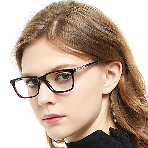 OCCI CHIARI Eyewear Frames Eyeglasses Optical Frame Wayfarer Fashion Clear Lens Glasses For Women (Red Wine 52mm)