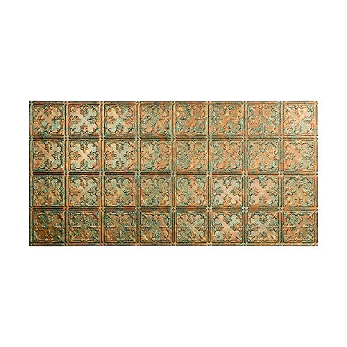 FASÄDE Easy Installation Traditional Style/Pattern #10 Copper Fantasy Glue Up Ceiling Tile/Ceiling Panel (One 2' x 4' Tile) ()