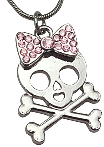 Silver Tone Girly Skull and Crossbones with Crystal Embellished Pink Bow Necklace Girls Teens Halloween Jewelry (Boutique Costumes Halloween Paris)