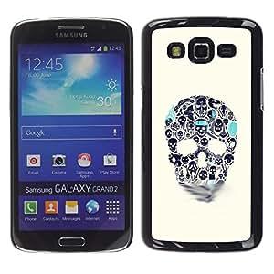 """For Samsung Galaxy Grand 2 II Case , Azul Beige cráneo del trullo Muerte de tinta del tatuaje"""" - Diseño Patrón Teléfono Caso Cubierta Case Bumper Duro Protección Case Cover Funda"""