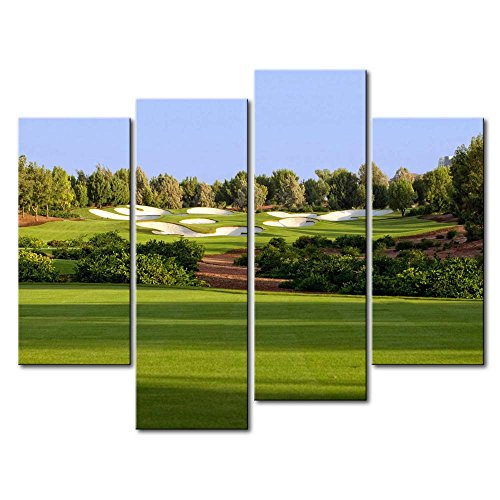 Green 4 Panel Wall Art Painting Jumeirah Golf Estates Trees