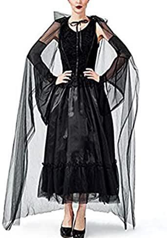 Mitef Falda De Fiesta De Halloween del Vestido De Bruja Negra del ...