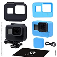 Silicone Sleeve Cases for Gopro Hero 5 Black - 2 Protective Covers - Black (Frame) / Blue (Camera) - Protection to Your GoPro Hero5 Camera and The Frame - Against Dust, Scratches and Light Shocks