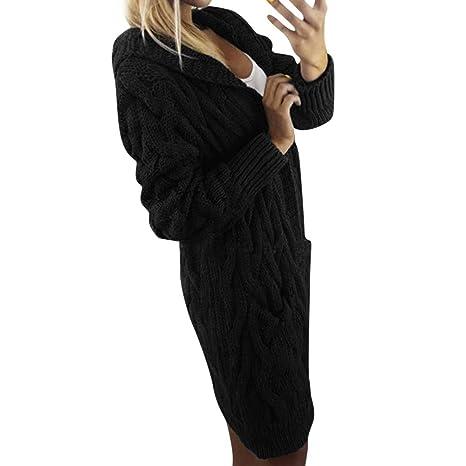 Franterd Women Knitted Sweater Cardigan Fall Winter Elegant Solid Open Front Oversized Coat Sweatshirt Loose Outwear