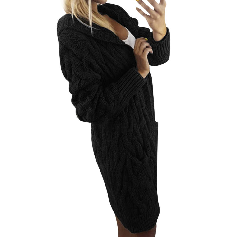 Xchenda Fashion Women Long Sleeve Oversized Loose Knitted Sweater Cardigan Hooded Pullover Outwear Coat (One Size, Black)
