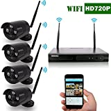 OOSSXX 8-Channel HD 960P Wireless Network/IP Security Camera System(IP Wireless WIFI NVR Kits),4Pcs 720P Megapixel Wireless Indoor/Outdoor IR Bullet IP Cameras,P2P,App,No HDD