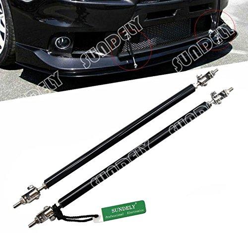 2 X SUNDELY Black Color 9.7'' to 13.2'' (24.6cm~33.5cm) Adjustable Universal Front Bumper Lip Diffuser Splitter Support Bar Rod Strut