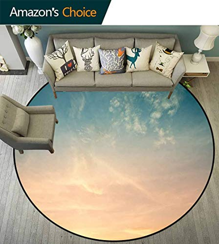 - Sky Round Rug with Fringe,Horizon Illustration Scenic Natural Beauties Summer Season Inspired Peaceful No Chemical Odor,Petrol Blue Peach,D-63