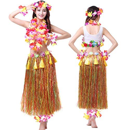 [Hawaiian Hula Dance Costume Ballet Performance Cosplay Dress Skirt Garland For Adult 80CM Full Sets] (Dancing Dolls Costumes)