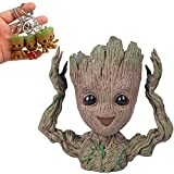 Baby Groot Flowerpot 6 inch with 4 Adorable Keychains – Perfect for Flower Succulent Planter Or Desk Pencil Pen Pot Holder Decor (Baby Groot Hands up) Review