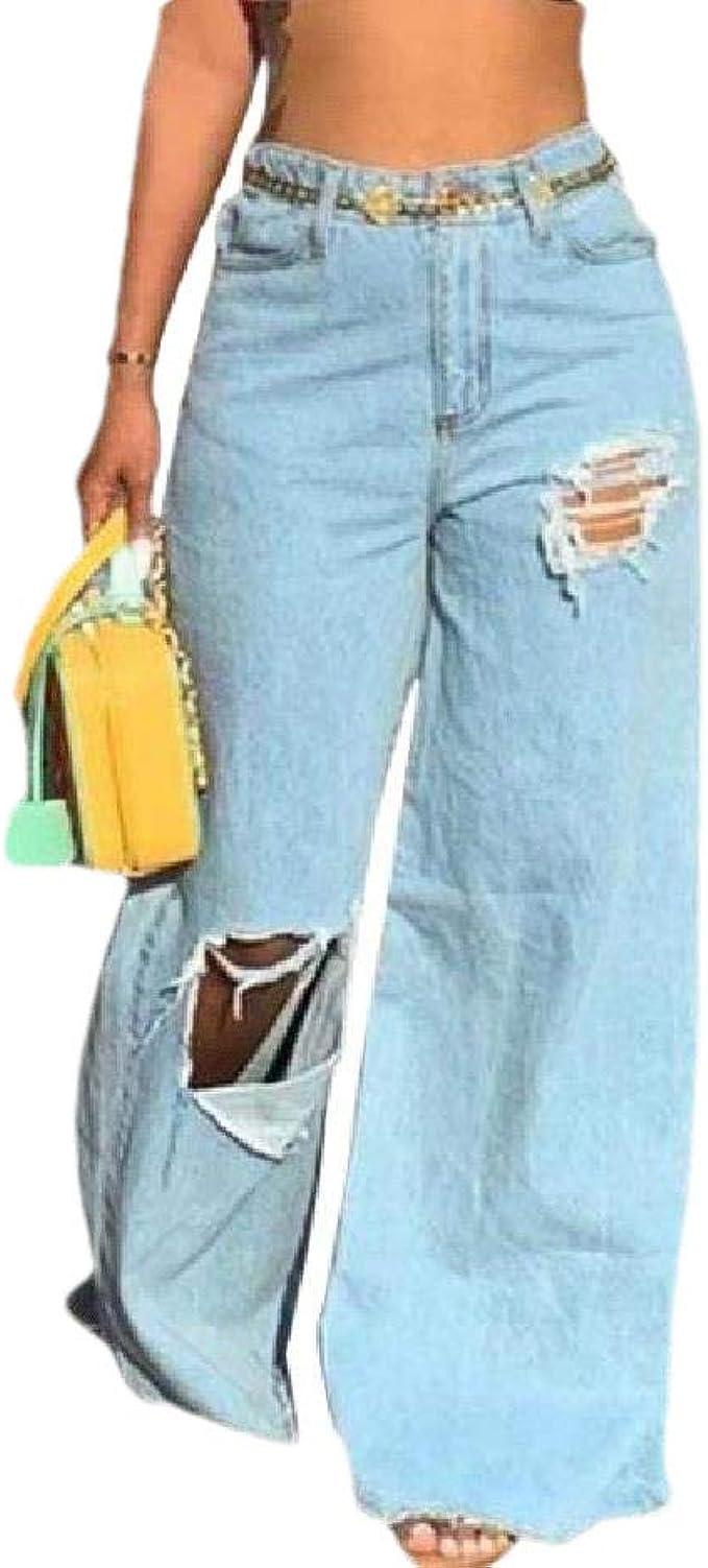 Romancly 女性ポケットパラッツォパンツホールバギーミッドウエストウォッシュデニムパンツ