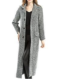 YACUN Women's Long Sleeve Single Breasted Woolen Jacket Maxi Trench Coat