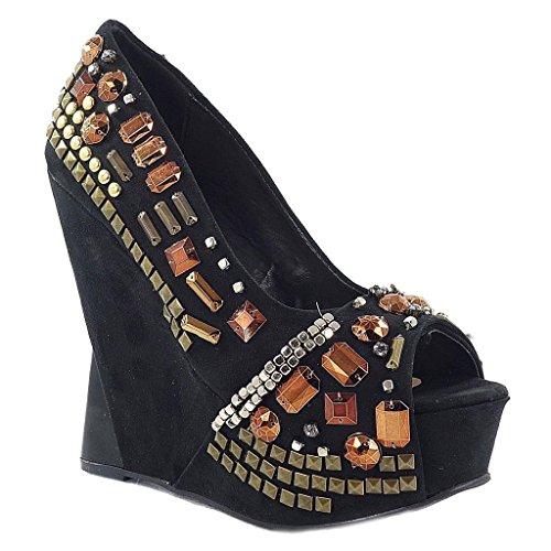 Toi Fourever Wedge Platform Et Women's Funky Embellished Toe Peep Black Synthetic 66tZwU4q