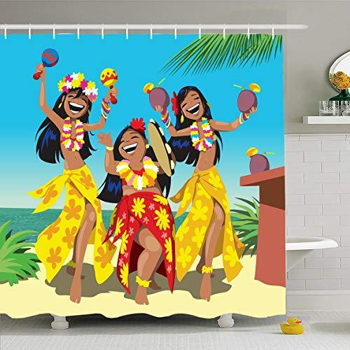 Ahawoso Shower Curtain 66x72 Inches Sexy Dance Hawaii Party Three Young Hula Bar Girls Parks Aloha Luau Beach Design Hot Waterproof Polyester Fabric Set with Hooks