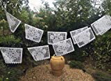 MEXICAN PAPEL PICADO Banner LARGE ALL WHITE Bunting 20' feet long with 10 flags