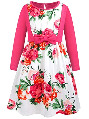 - Bonny Billy Girls' Long Sleeve Knit Floral Dress with Bow 5-6t Pink