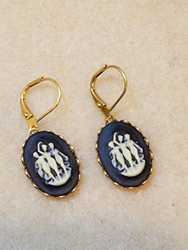 Black and White Three Graces Cameo Earrings Resin Antique ()