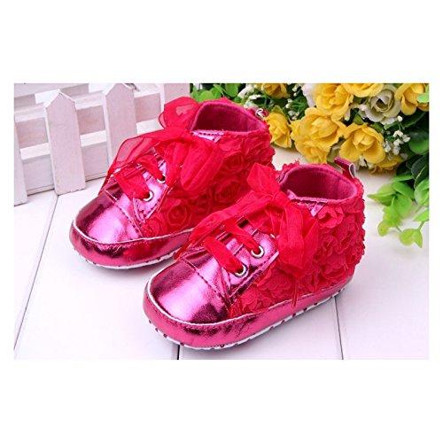 Zapato suave Basket Montante bebé de 0a 12meses, Modelo Encaje Fuschia 3/6Meses, 6/9Meses, 0/3meses, 9/12Meses multicolor multicolor Talla:9/12 mois
