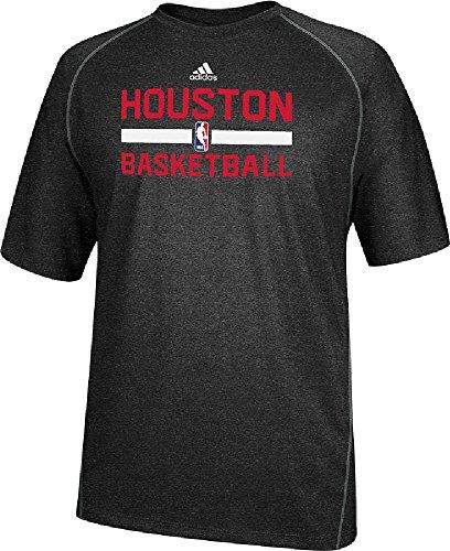 Houston Rockets Heather Black Climalite Practice Short Sleeve Shirt by Adidas (XXL=52)